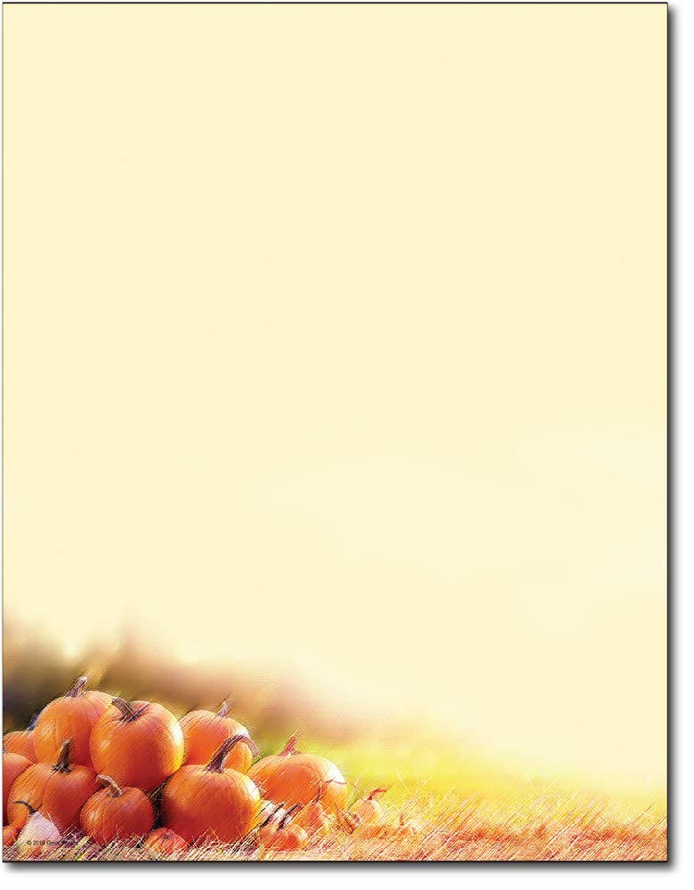 Max 53% OFF Glistening Pumpkins Autumn Letterhead Flyer Sheets 80 Ranking TOP1 - Paper