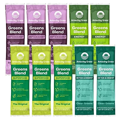 Amazing Grass Greens Blend Variety Pack (10 Single Serve packets): Greens Blend Powder with Spirulina, Chlorella, Beet Root Powder, Digestive Enzymes & Probiotics from Amazing Grass