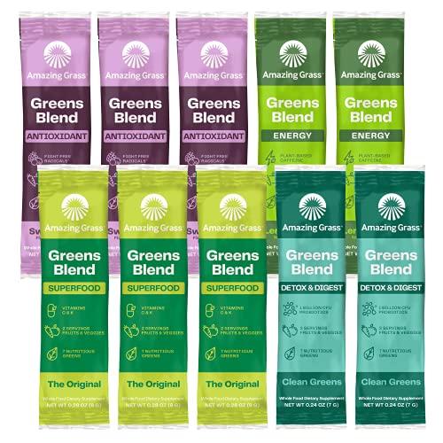 Amazing Grass Greens Blend Variety Pack (10 Single Serve packets): Greens Blend Powder with Spirulina, Chlorella, Beet Root Powder, Digestive Enzymes & Probiotics