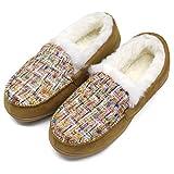 ONCAI Memory Foam Zapatillas De Casa para Mujer Felpa Pantuflas Mocasines Calentar Invierno Tweed Zapatos para Interior Exterior Caucho Suela,Khaki 40