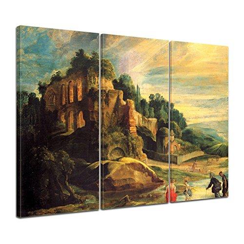 Wandbild Peter Paul Rubens Landschaft mit den Ruinen des Hügels Palatin in Rom - 90x60cm mehrteilig quer - Bild auf Leinwand Gemälde