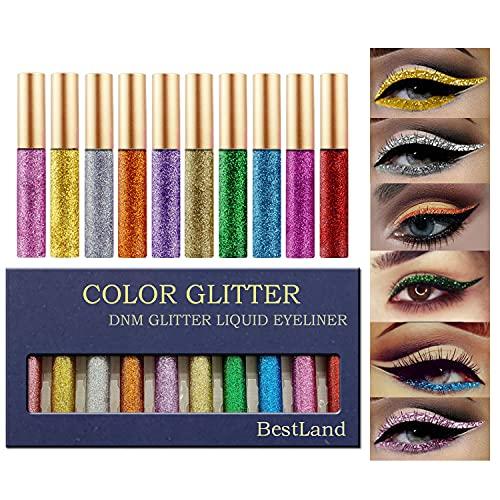 10 Colors Liquid Glitter Eyeliner Metallic Shimmer...