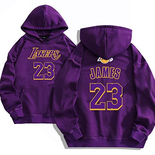 XGMJ James - Sudadera con Capucha De Baloncesto para Hombre, Lakers #23 Sudadera Holgada con Capucha, Sudaderas con Capucha para Fanáticos Deportivos, Ropa De Entrenamien Purple-S