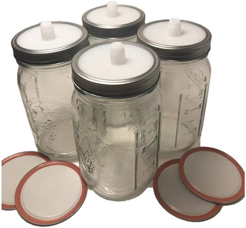 4 Pack Waterless Fermentation Airlocks Quart 32 Oz Wide Mouth Mason Jars Canning Lids Bands
