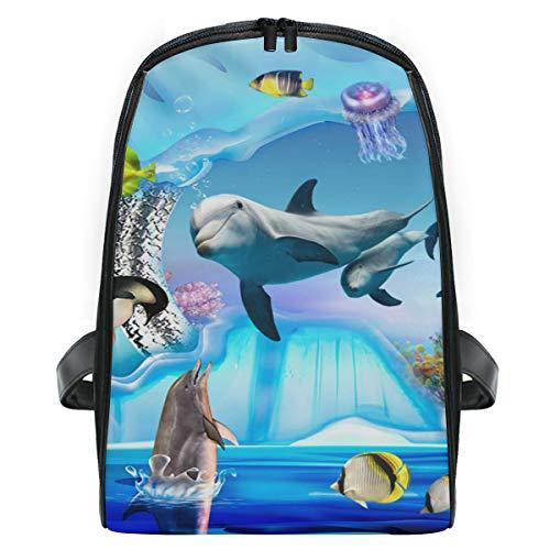 DEZIRO Reisetasche Delfin-Pinguin Jelly Aquarium Schultasche Kinder Packsack Schultasche