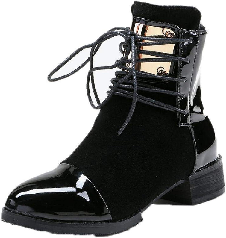 MZjJPN Plus Size Women Autumn Ankle Boots Patent Leather Low Heel shoes Lace Up Glitter Metal Short Boot