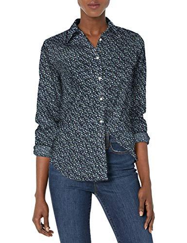 Chaps Women's Long Sleeve Non Iron Cotton Sateen-Shirt, Capri Navy/Cobalt, L