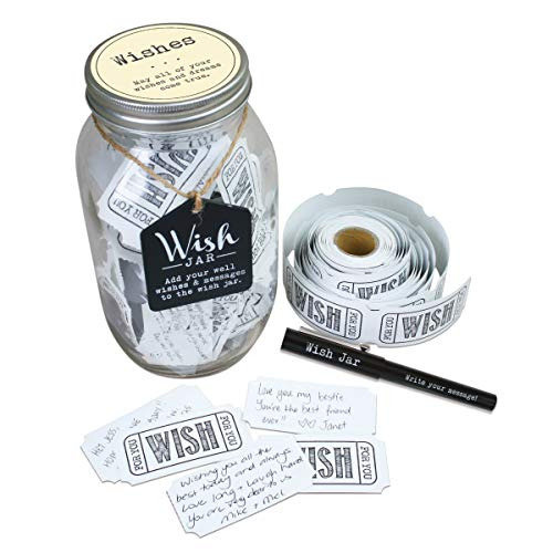 TOP SHELF Everyday Wish Jar Kit with 100 Tickets, Pen, and Decorative Lid, Clear