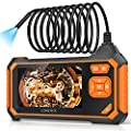 """Borescope Inspection Camera, LONOVE Industrial Endoscope Camera HD 5.5mm 1080P 4.3"""" LCD Screen w/ IP67 Waterproof Snake Camera 6 LED Lights, Sewer Camera with Semi-Rigid Cable, Emergency Light -16.5FT"""
