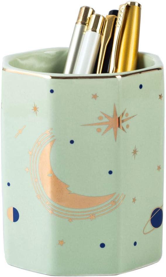 YOSCO Ceramic Desk Pen Holder Stand Moon Pattern Pencil Cup Pot Desk Organizer Makeup Brush Holder Moon-Green