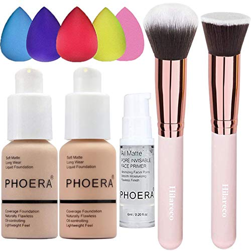 PHOERA Foundation 102 and 103 & Face Primer,Liquid Full Coverage Foundation Set,Foundation Brush Powder Brush,5 Makeup Sponge,30ml PHOERA 24HR Matte Oil Control Concealer (Nude #102 + Warm Peach #103)