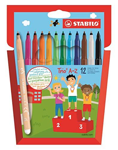 Feutre de coloriage - STABILO Trio A-Z - Étui carton x 12 feutres pointe moyenne - dont 2 couleurs fluo