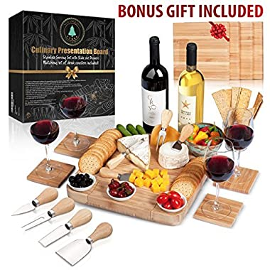100% Bamboo Cheese Board with Slide-Out Drawer & 4-Piece Stainless Cutlery Set. Includes FREE set of matching coasters. Perfect House Warming Gift & Best Choice For Every Kitchen. Large 13 x13