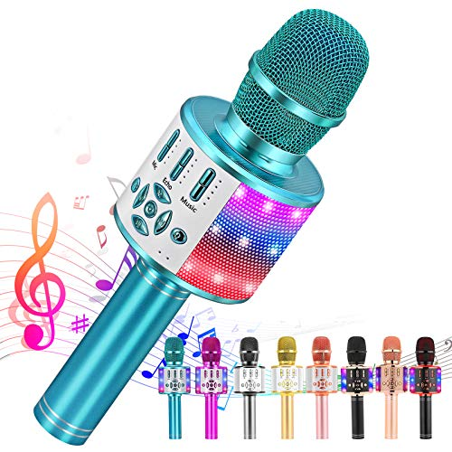 Ankuka Karaoke Microphone for Kids, Fun Toys for Girls and Boys, Portable Wireless 4 in 1 Bluetooth Karaoke Microphone with LED Lights, Gift Speaker Machine Christmas Birthday for All Smartphone(Blue)