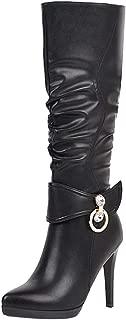 ELEEMEE Women Stiletto Slouch Boots High Boots Zip