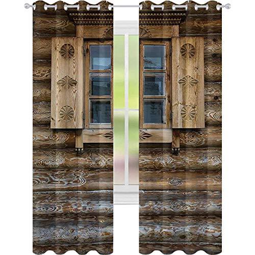 Brusreducerande fönsterdraperier, fönster med luckor mönstrade på väggen i det gamla trähusets stugdekor, B 52 x L 72 mörkläggningsdraperi för matsal, brun beige