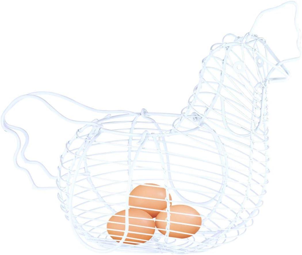 Hemoton Panier /à Oeufs en Acier Ferme D/écoratif en Fil M/étallique Oeuf de Poulet Panier de Rangement de Cuisine Rouge