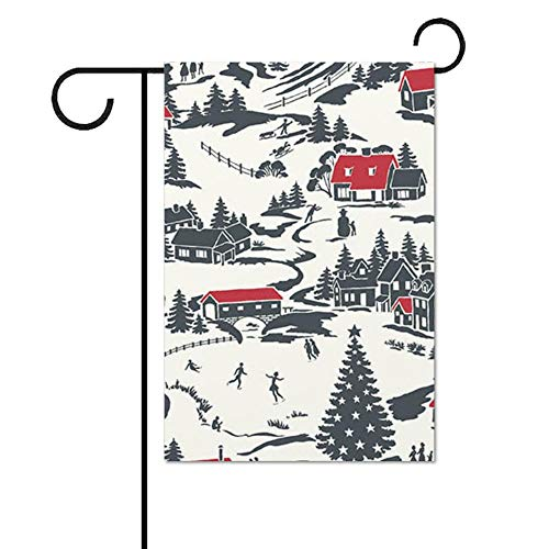Tr674gs Seasonal Garden Flag, 28 x 40 Inch Outdoor Flag, Winter Village Shale Garden Banner, Yard Flag