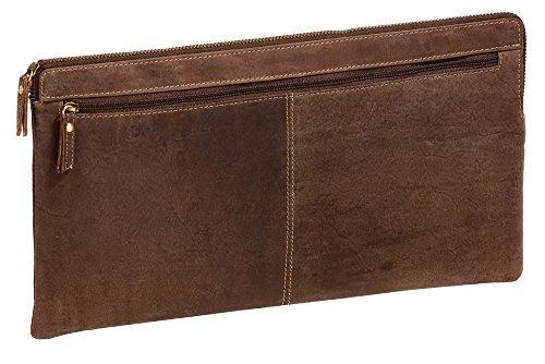 LEAS Banktasche & Geldtasche extra groß im Vintage-Style Echt-Leder, braun Special-Edition 33x18x1cm (BxHxT)