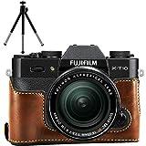 First2savvv XJPT-XT10-D10G6 marron oscuro Funda Cámara cuero de la PU cámara digital bolsa caso cubierta para Fuji Fujifilm X-T10 XT10 X-T20 XT20 + mini trípode
