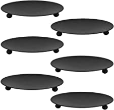 BESPORTBLE 6pcs Iron Candle Plate Black Table Candlestick Pillar Candle Holder Home Party Pedestal Candle Stand Table Cent...