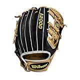 Wilson A2000 11.5-Inch SuperSkin Baseball Glove, Black/Blonde Tan, Left (Right Hand Throw)