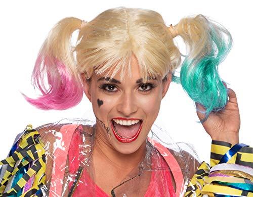 Rubies Perruque Harley Quinn Accessorio per Costumi, Rose, Taglia Unica per Tutti Gli Adulti Donna