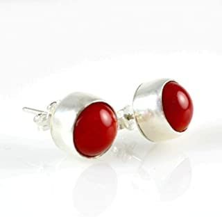 Women's 925 Sterling Silver Natural Round Red Coral 8.8mm Birthstone Handmade Stud Earrings