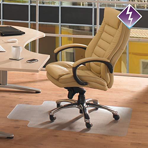 """Floortex Bodenschutzmatte   Bürostuhlunterlage \""""computex anti-statik advantagemat\""""   120 x 90 cm   aus phtalatfreiem Vinyl   transparent   rechteckig mit Lippe   für harte Böden"""