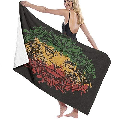 Grande Suave Toalla de Baño Manta,Colores de la Bandera etíope Rasta en la Cabeza de león incompleta del Grunge con Arte del Tema del Fondo Negro,Hoja de Baño Toalla de Playa Viaje Nadando,52' x 32'