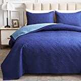 AIKASY Reversible Quilt Set 3-Piece King Size with Pillow Shams, Lightweight Microfiber Soft King bedspreads Summer Comforter Set Bed Cover for All Season - (Blue,102'x90')