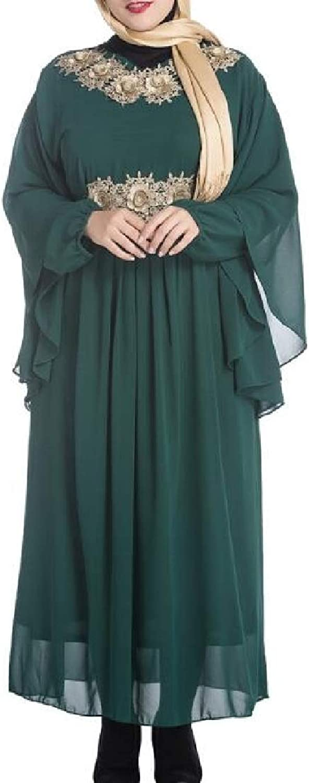 XFuture Women Arabic Muslim Plus Size Abaya Applique Long Sleeve Dress