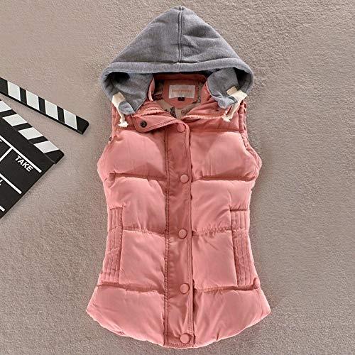 BAONUANY Down Vest Voor Vrouwen, Roze Winter Warm Taillejas Vrouwen Plus Size Mouwloos Vest Jas Vrouwelijke Down Vest Jas Mode Dames Straat Draag Hooded Vesten