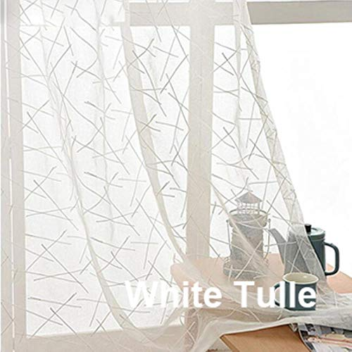 PENVEAT Blackout Jacquard Silver Curtains for Living Room Chenille American Modern Luxury Blind Fabric Geometric Drape Bedroom Window,White Tulle,W400CM X L250CM,Grommet