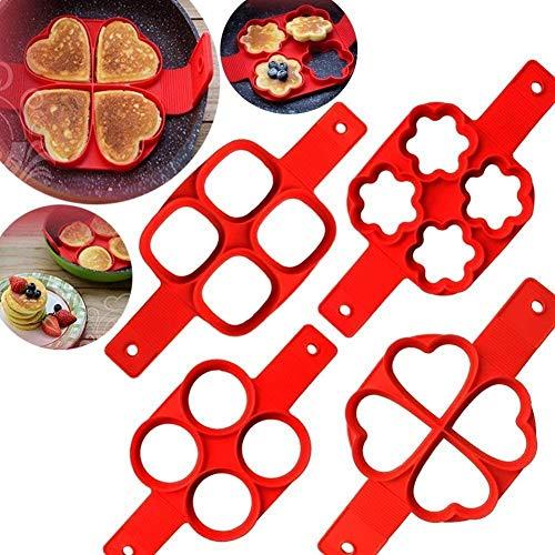 Flip Cooker Pancakes Mold, 2er Pack Nonstick Silikon Pancake Mold Maker Frühstück Pancake Shaper - Runde und Herzform, Blume und Quadrat (rund und Blume)