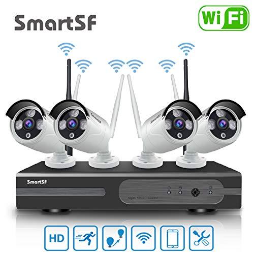 WiFi Sistemi di sorveglianza, Videosorveglianza WiFi Kit 4CH 1080P, telecamera Anni IP impermeabile da esterno 4Pcs 720P 1MP, P2P, 65 piedi. accesso remoto, senza disco rigido.