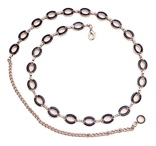 Black Temptation Cinturón Salvaje Cintura Cadena de Moda de Metal cinturón de Estilo Oval