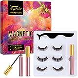EYEKESHE Pestañas Postizas Magneticas Naturales Incluir Delineador de Ojos y Rizador de Pestañas, Cómodo Impermeable Reutilizable, Adecuado para Maquillaje Carnaval, Boda, Fiesta (3 Pares)
