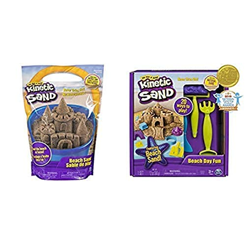 Kinetic Sand, 3lbs Beach Sand for Ages 3 & Up (Packaging May Vary) and The One and Only Kinetic Sand, Beach Day Fun Playset with Castle Molds, Tools, and 12 oz. of Kinetic Sand for Ages 3 and Up