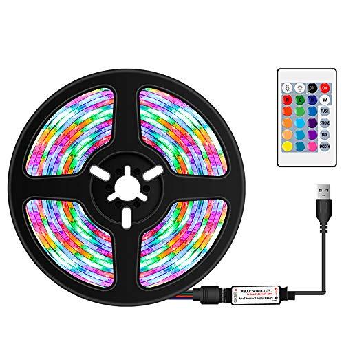 Tiras de luz LED RGB coloridas com controle remoto infravermelho, 16 cores e 4 modos de iluminação, 0,5 m, 30 LEDs, corda de luz para TV, computador, mesa, fundo de casa, cozinha, iluminação decorativa