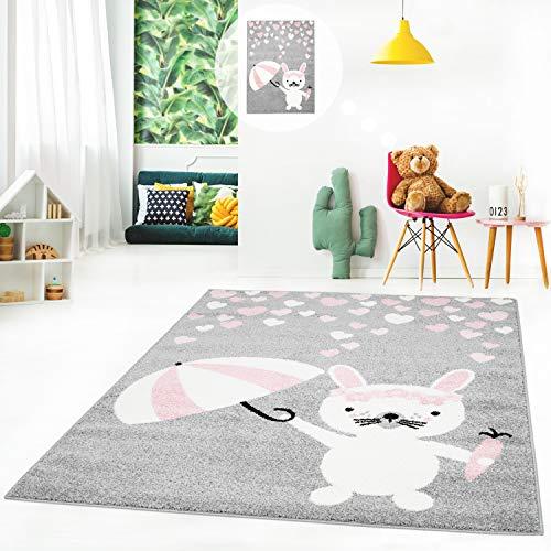 MyShop24h kindertapijt tapijt kinderkamertapijt speeltapijt vlakke polen met haas, paraplu, harten in grijs, roze 80 x 150 cm grijs
