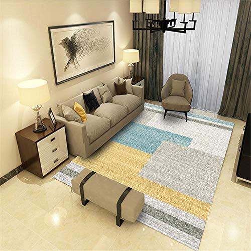 Tapijten tegen slijtage, tapijten, blauw-grijs, vierkant tapijt met geometrisch design, in meerdere maten, minimalistisch vuilafstotend, voor op de bank, kindervloerkleed