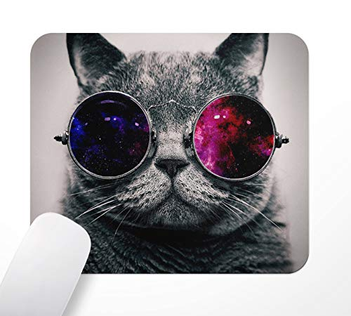 ASHER Coole Katze Gaming Office Mauspad, Rutschfeste Gummi-Basis-Mousepad, Computer PC, 240×200mm, Schwarz
