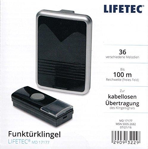Lifetec Funk Türklingel Türgong 100 Meter Klingel Gong Schwarz