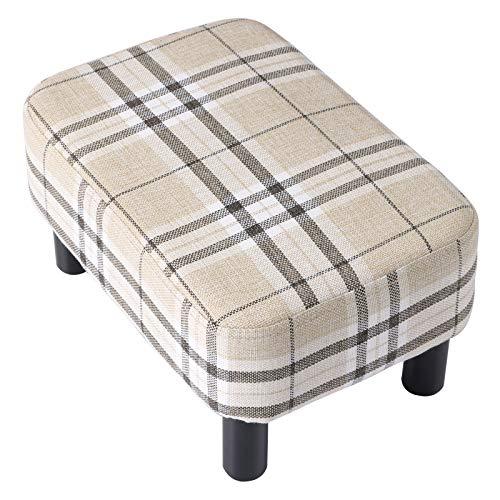 IBUYKE Reposapiés tapizado de Madera, Taburete bajo, Taburete de Tela para sofá, pequeño, Moderno, para Sala de Estar, Dormitorio, Taburete Rectangular con Asiento Acolchado, Color a Rayas RF-BD215