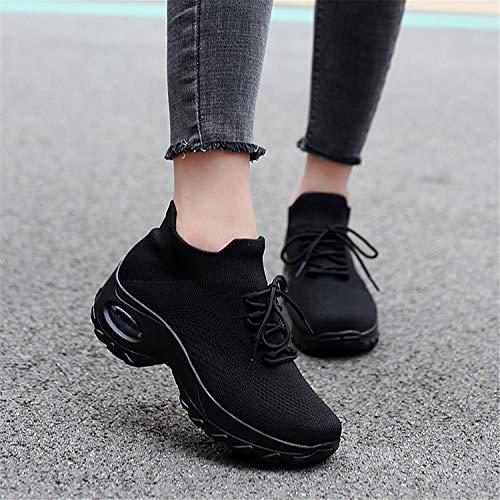 Zapatos Deporte Mujer Zapatillas Deportivas Correr Gimnasio Casual Zapatos para Caminar Mesh Running Transpirable Aumentar Más Altos Sneakers Negro Gris Morado Rojo 35-43 Negro 39