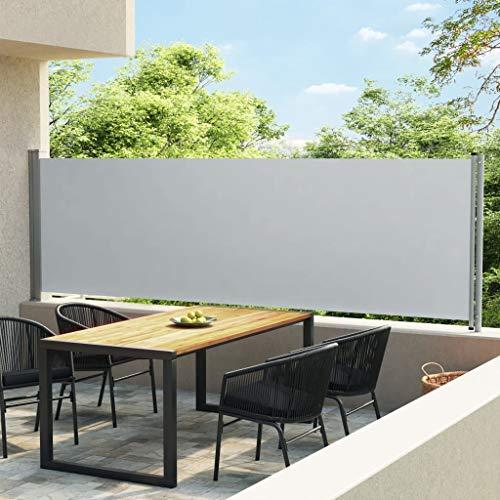 vidaXL Toldo Lateral Retráctil para Patio Separador Jardín Terraza Balcón Pantalla Solar Viento Enrollable Función Retroceso Automático Gris