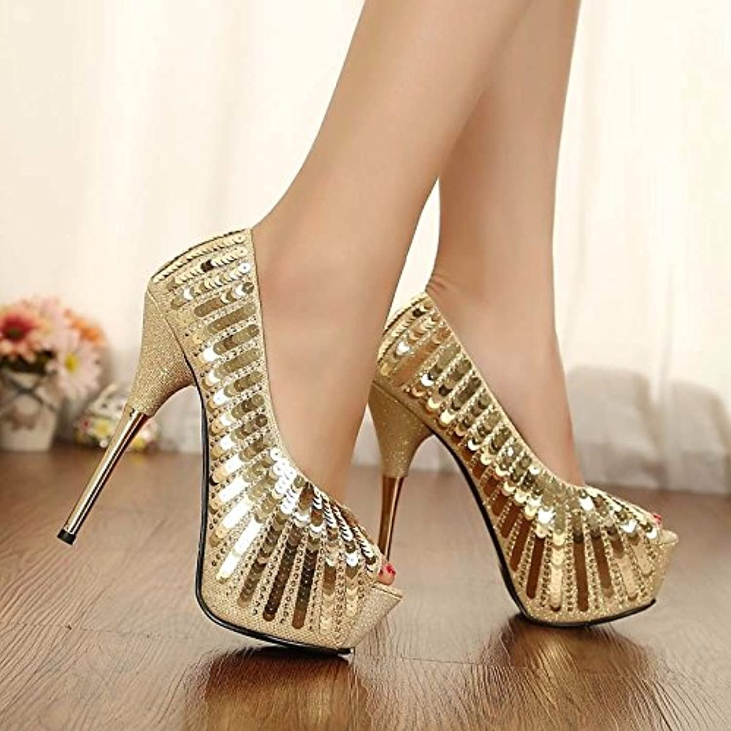 Women's shoes PU Spring Fall Basic Pump Comfort Sandals Stiletto Heel for Casual gold