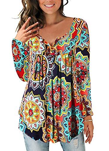 Cyiozlir Tunika Damen Blumen Locker T-Shirt Langarm V Ausschnitt Knopfleiste Bluse Plissiert Floral Oberteil (AOrange, Large)