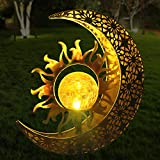 Aodue Garden Solar Light Outdoor Decorative, Moon with Sun Decor, Crackle Glass Globe Metal Garden Stake Light, Waterproof for Pathway, Lawn, Patio, Yard